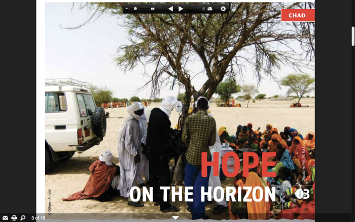 """Hope on the Horizon"" screenshot from the online version of the MSF Canada magazine Dispatches 16(2), Summer 2012"