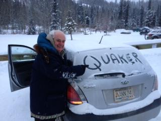 William Swainson - doing Quaker outreach Yukon style at -30 degrees (photo credit: Celia McBride)