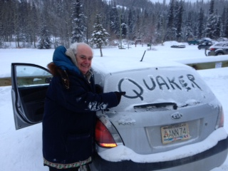 William Swainson - doing Quaker outreach Yukon style at -30 degrees (photo credit: Celia McBride)