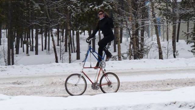 Bell testing the tall bike in Whitehorse on wintery roads.