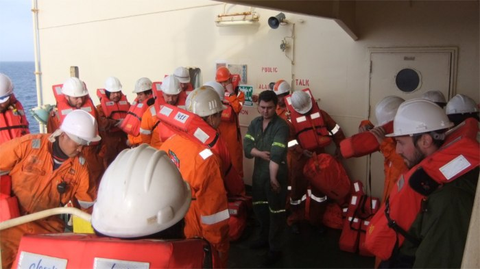 Getting ready to abandon ship! A weekly drill exercise.