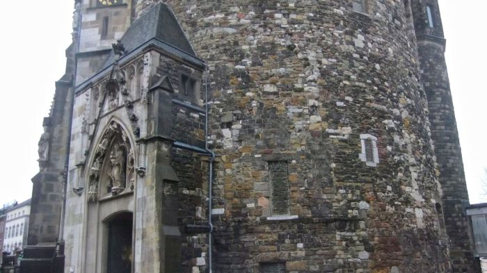 Part of the 8th century palace of Charlemagne that continues to exist as part of the city hall of Aachen.
