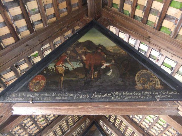 Tafel 45 des Totentanzes auf der Spreuerbrücke in Luzern - Panel 45 of the Danse of Death series on the Spreuer Bridge in Lucerne.