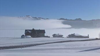 The fog started to withdraw and to reveal the beauty of the winter landscape. - So langsam zog sich der Nebel zurück und machte die Sicht frei auf die Winterlandschaft.