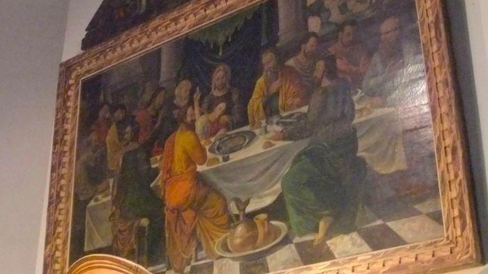 """""""The Last Supper - Abendmahl"""". Painting in the rural chapel of Helshoven in Belgium by an unknown painter of Flemish school (16th century). Gemälde eines unbekannten Malers aus einer flämischen Schule (16.  Jh)"""