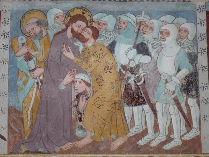 Passionszyklus (Judaskuss), Kirche Tenna, GR, um 1408, unbekannter Künstler