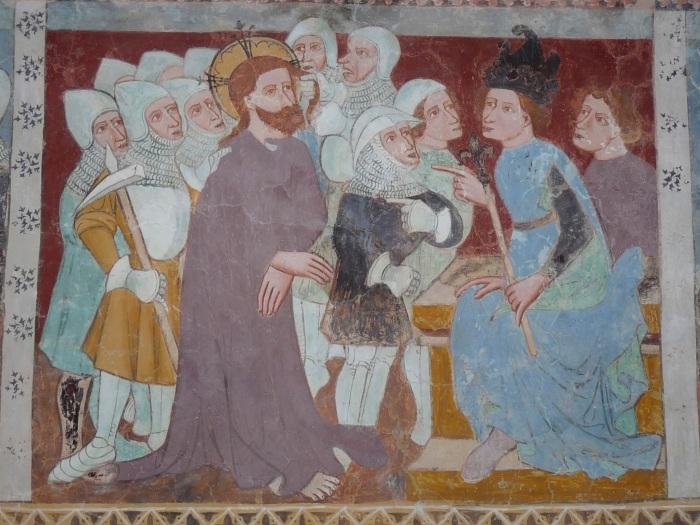 Passionszyklus (Vor dem Hohen Rat), Kirche Tenna, GR, um 1408, unbekannter Künstler
