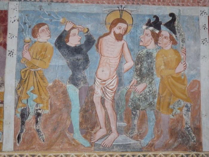 Passionszyklus (Geisselung), Kirche Tenna, GR, um 1408, unbekannter Künstler