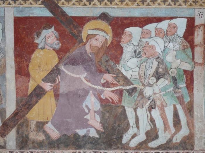 Passionszyklus (Gang nach Golgatha), Kirche Tenna, GR, um 1408, unbekannter Künstler