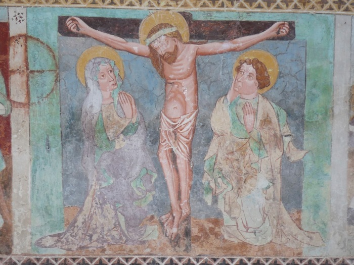 Passionszyklus (Beweinung am Kreuz), Kirche Tenna, GR, um 1408, unbekannter Künstler