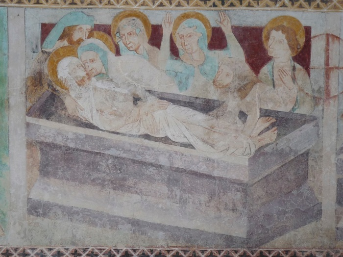 Passionszyklus (Grablegung), Kirche Tenna, GR, um 1408, unbekannter Künstler