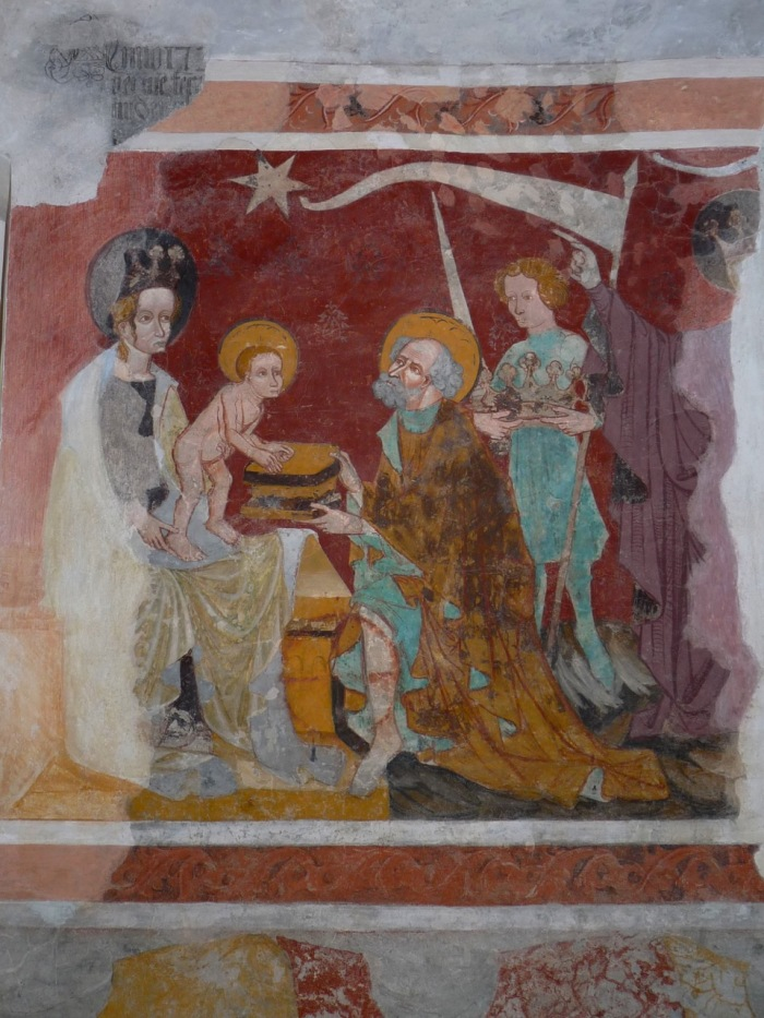 Epiphany - fresco from 1408 by an unknown artist in the church of Tenna, Switzerland