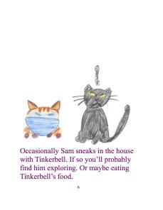 Gelegentlich schleicht sich Sam zusammen mit Tinkerbell ins Haus. Wenn das so ist dann findest du ihn wahrscheinlich am auskundschaften. Oder vielleicht isst er das Futter von Tinkerbell.